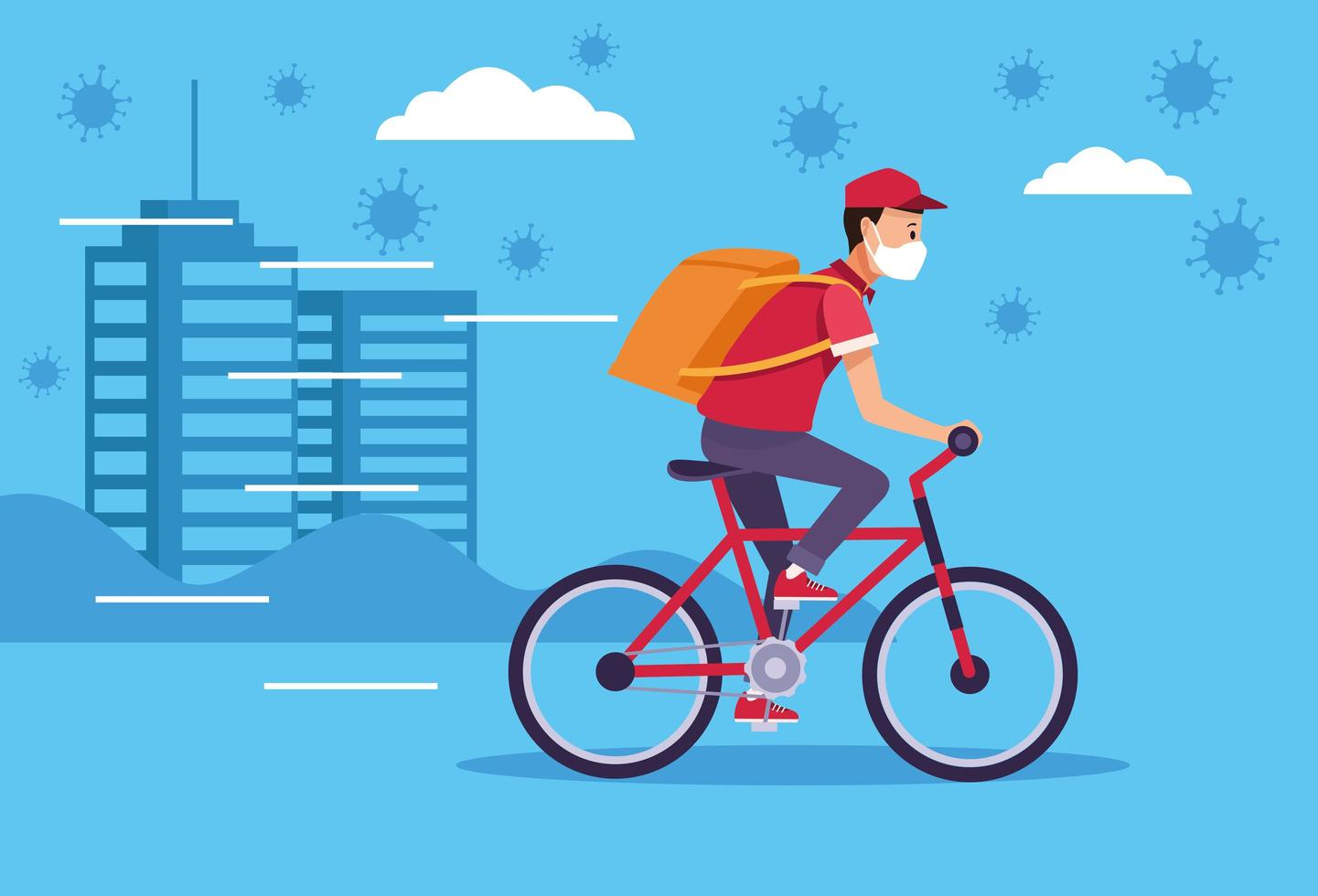 Courier wearing face mask in delivery service with COVID 19  vector
