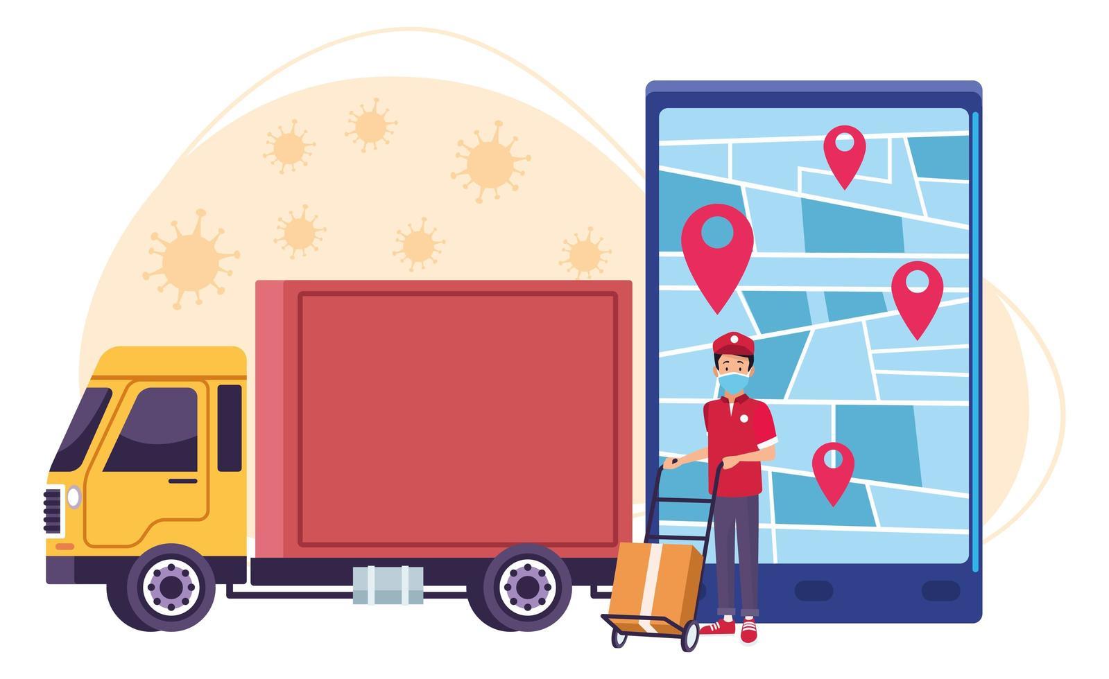 servicio en línea de entrega de camiones y un hombre con partículas de covid 19 vector