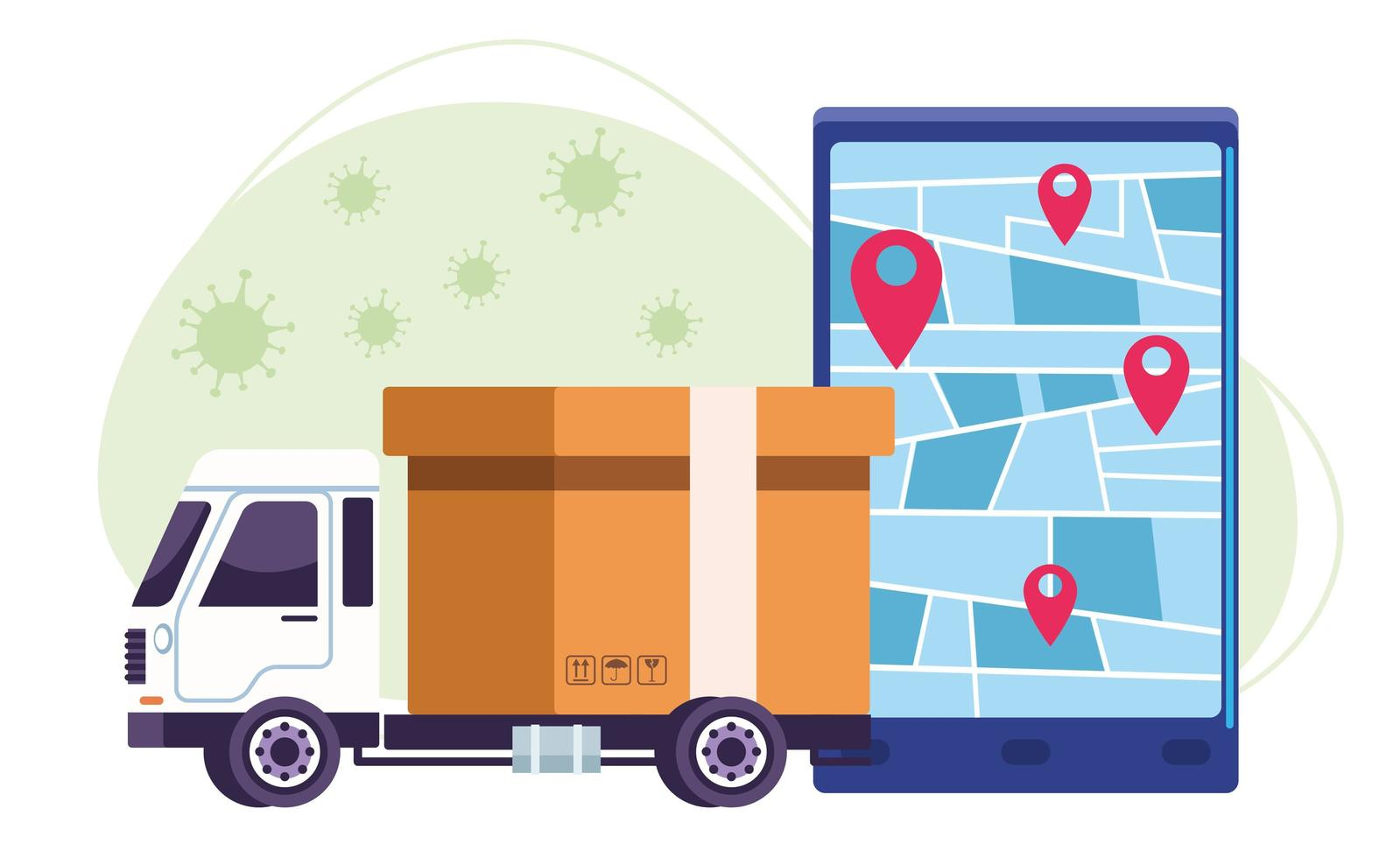 Truck delivery with COVID 19 particles vector