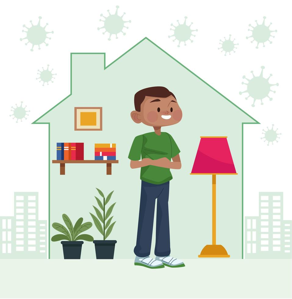 Man stays at home inside house vector