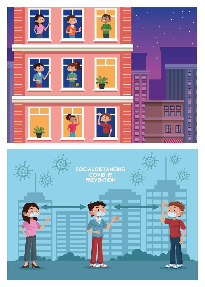 Grupo de personas que practican la distancia social y se quedan en casa. vector
