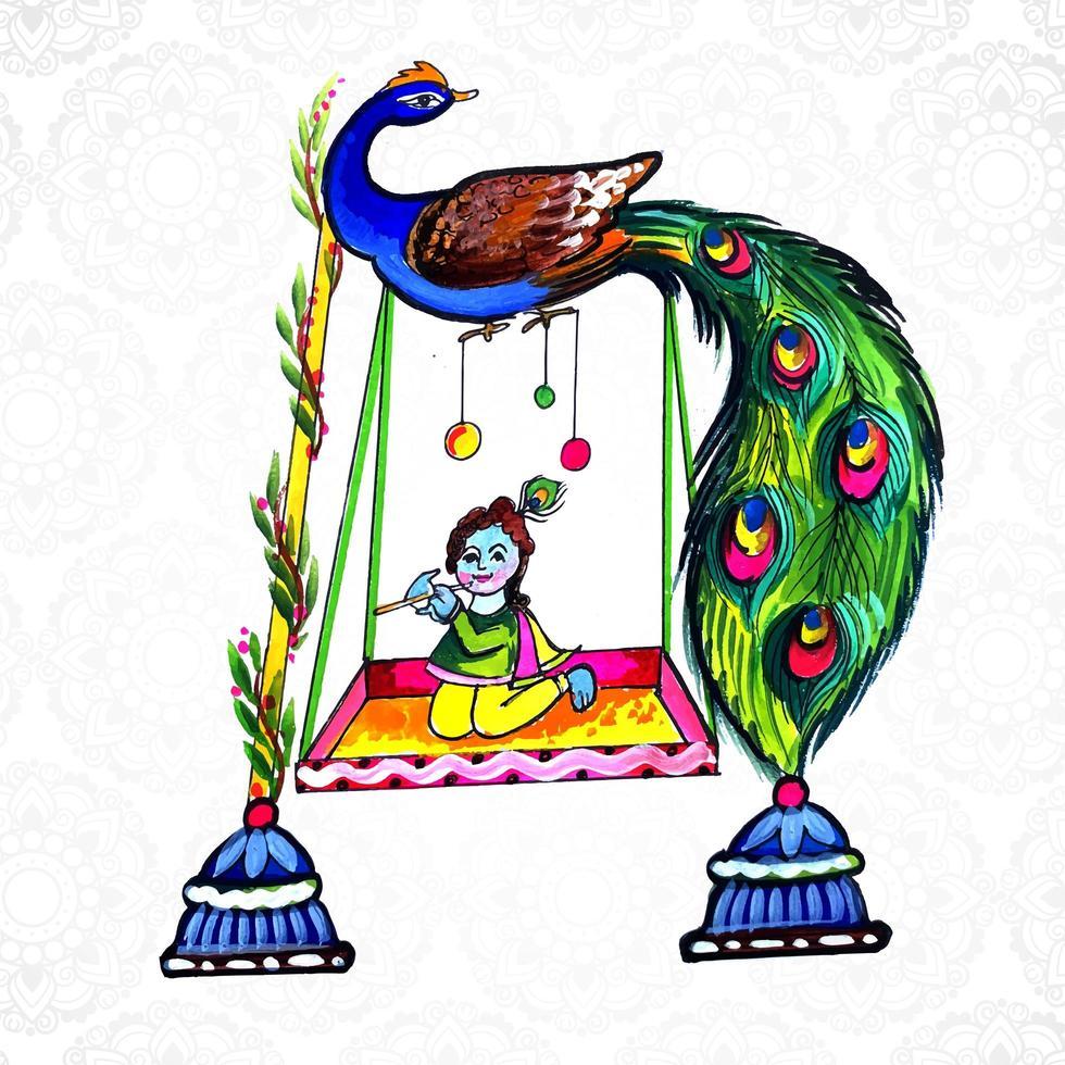 tarjeta religiosa shree krishna sentado en el columpio janmashtami vector