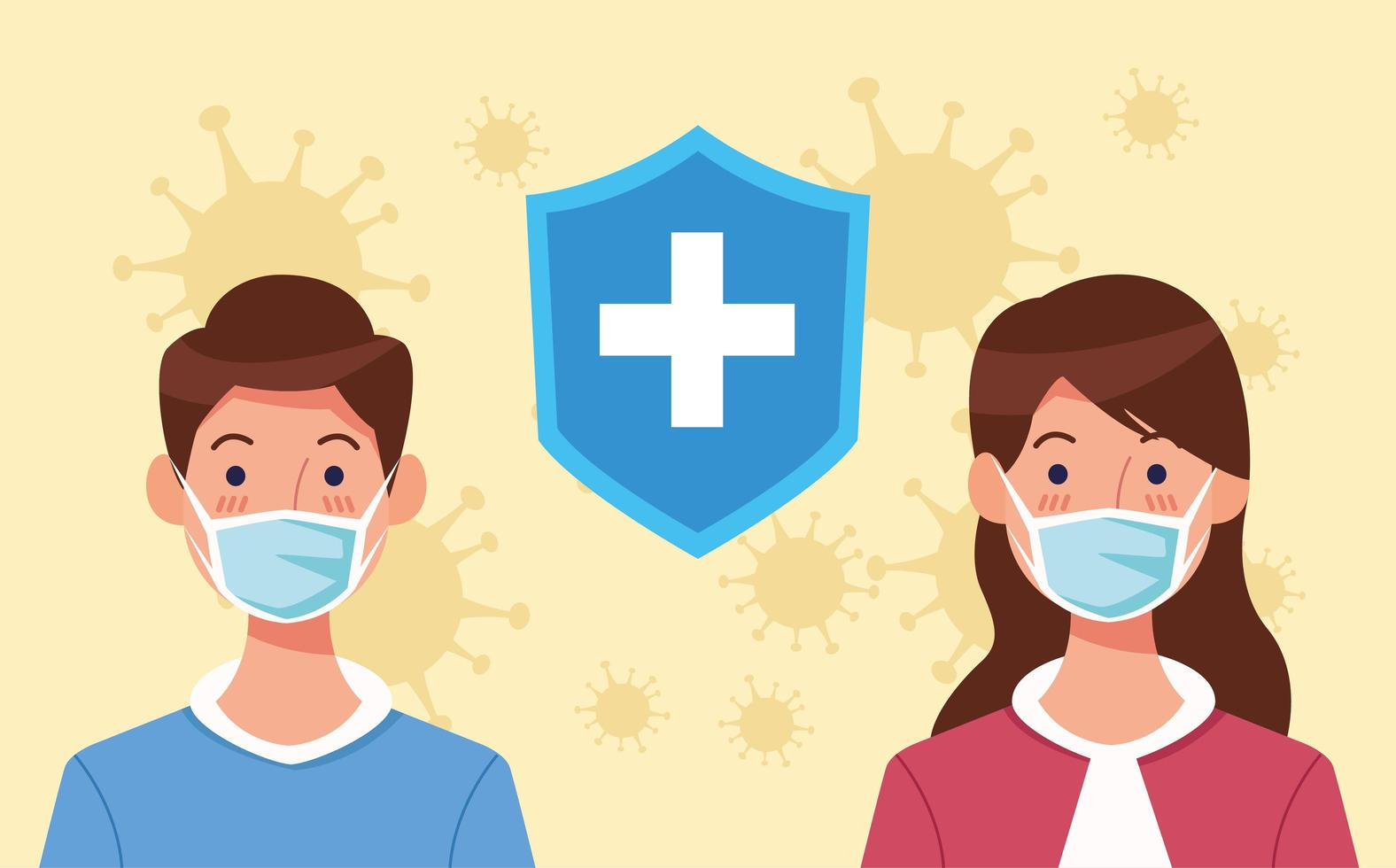Couple using face mask with shield and COVID 19  vector
