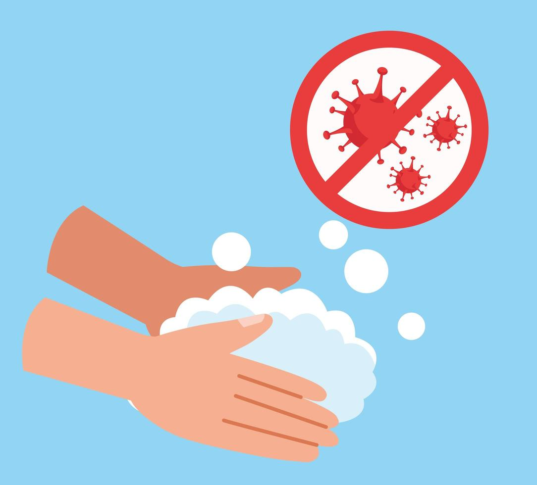 Hands washing with stop COVID 19 icon vector