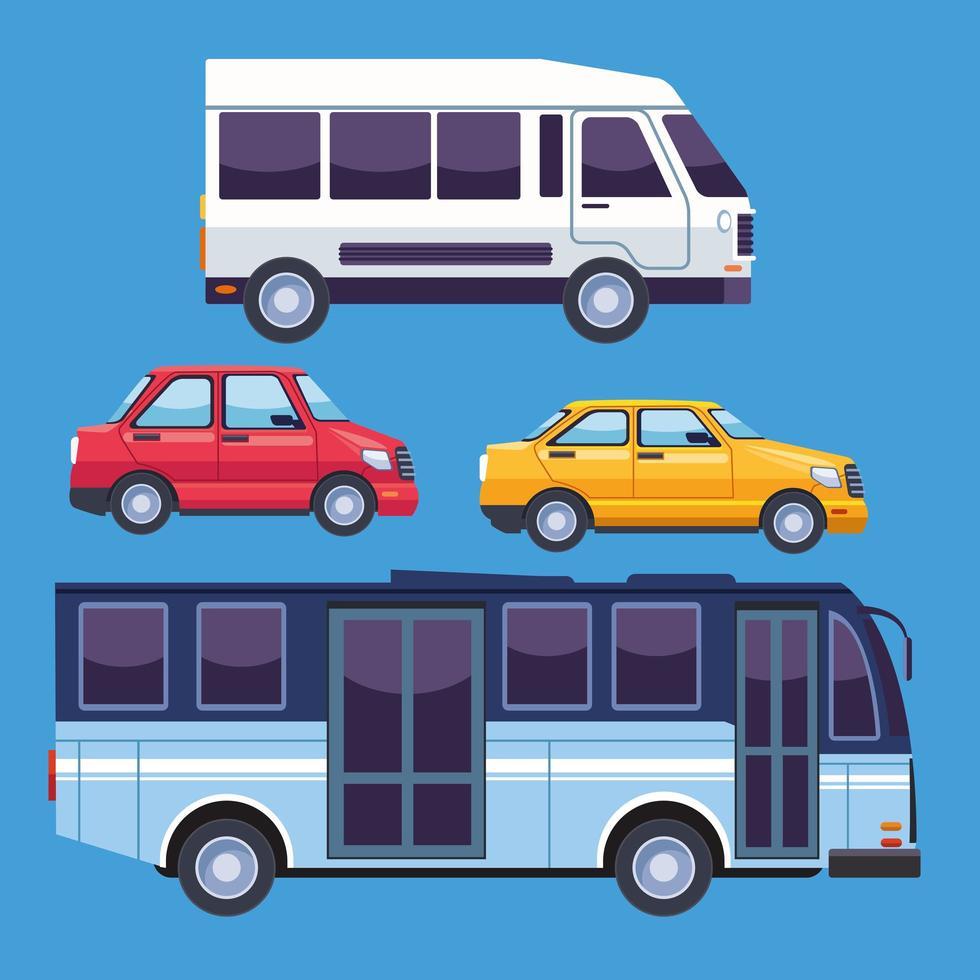 conjunto de vehículos de servicio de transporte vector