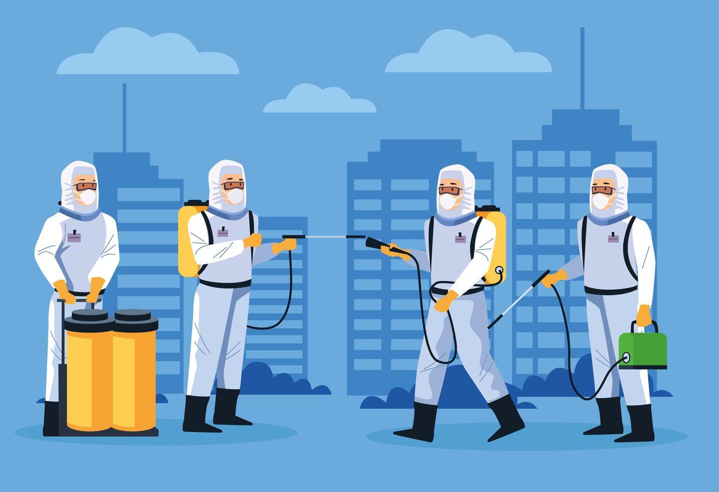 Los trabajadores de bioseguridad desinfectan la calle contra el covid 19 vector