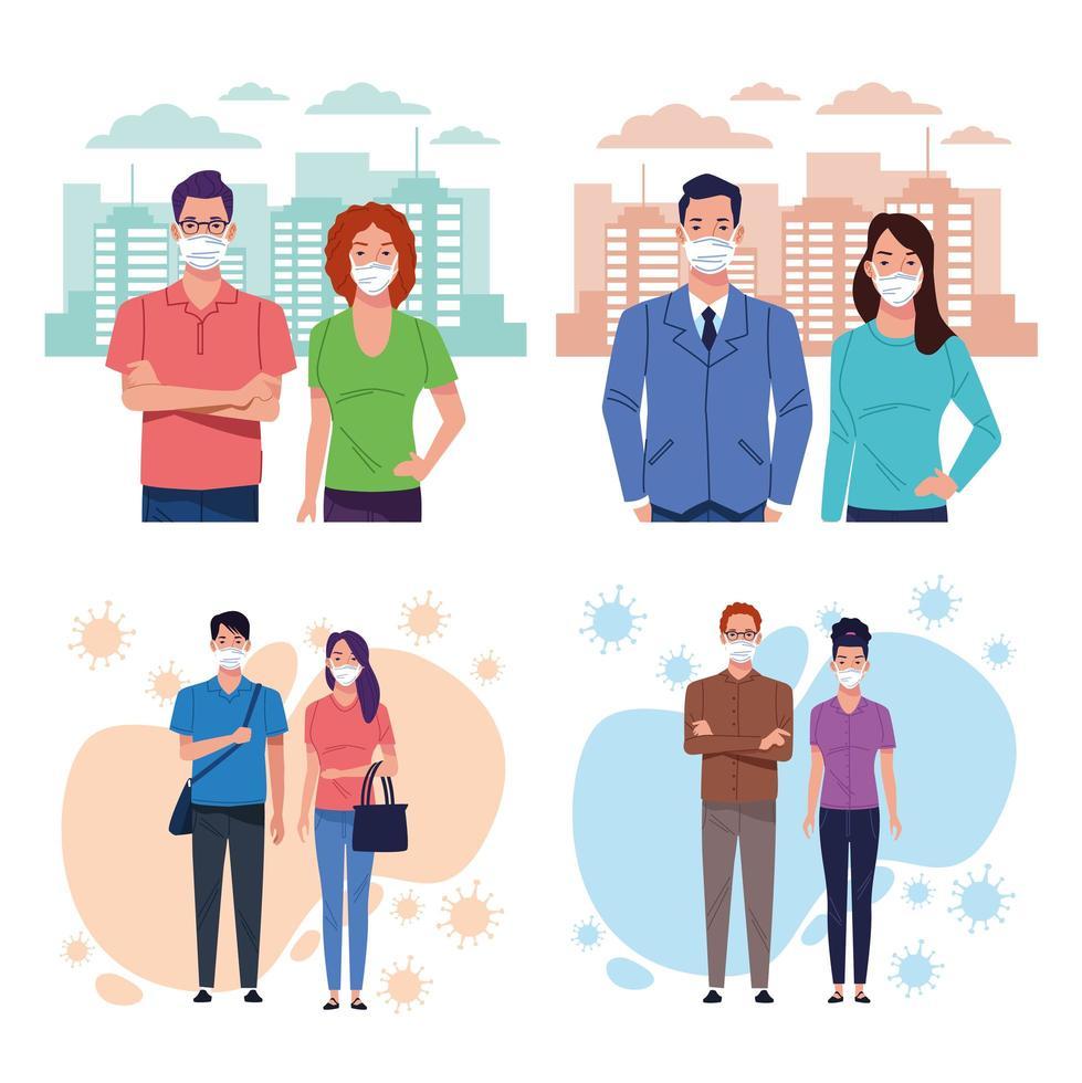 grupo de personas con máscara médica por coronavirus vector