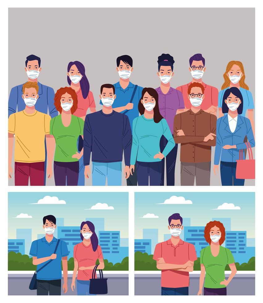 grupo de personas con mascarilla para coronavirus vector