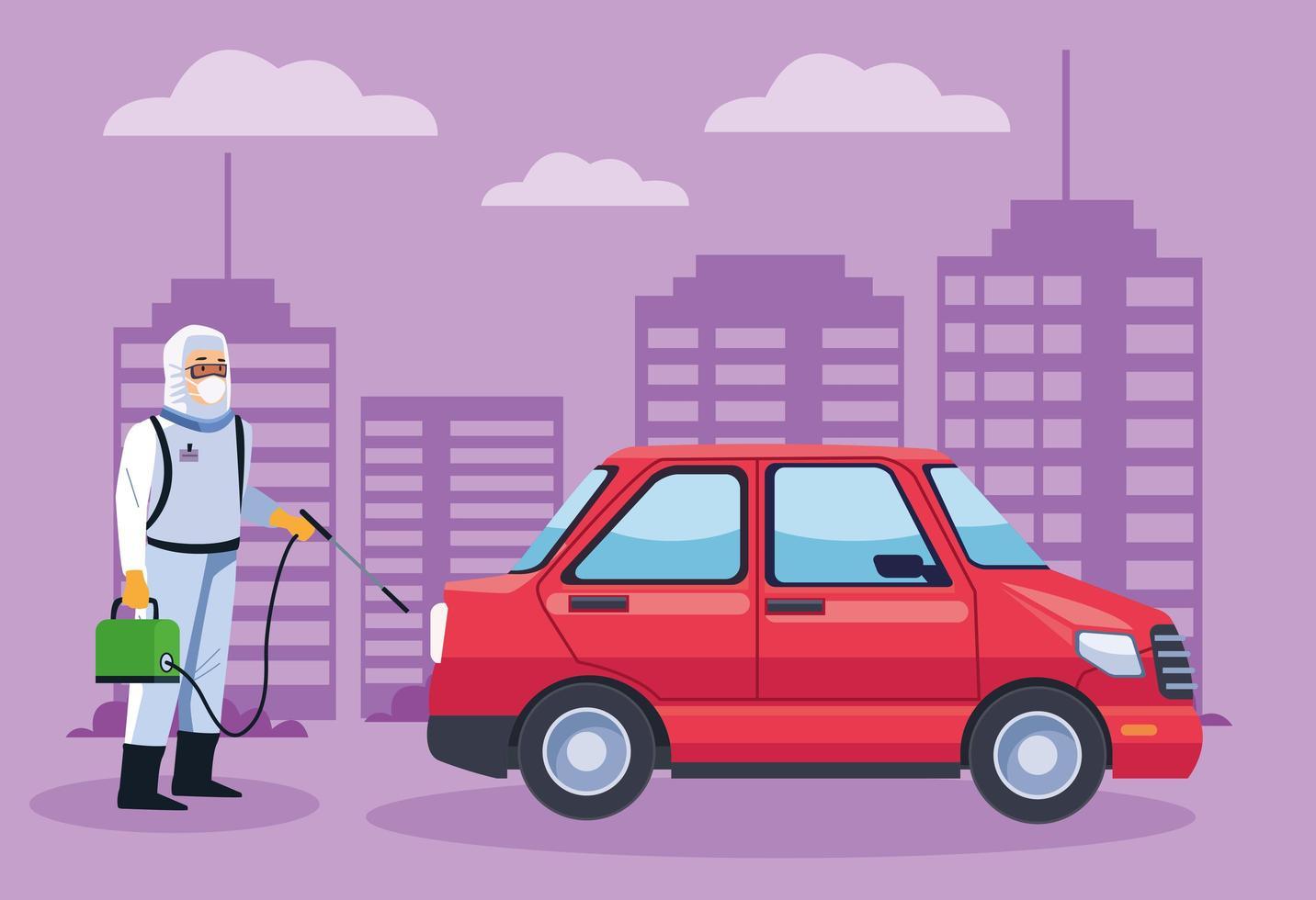 Trabajador de bioseguridad desinfecta un automóvil contra covid 19 vector