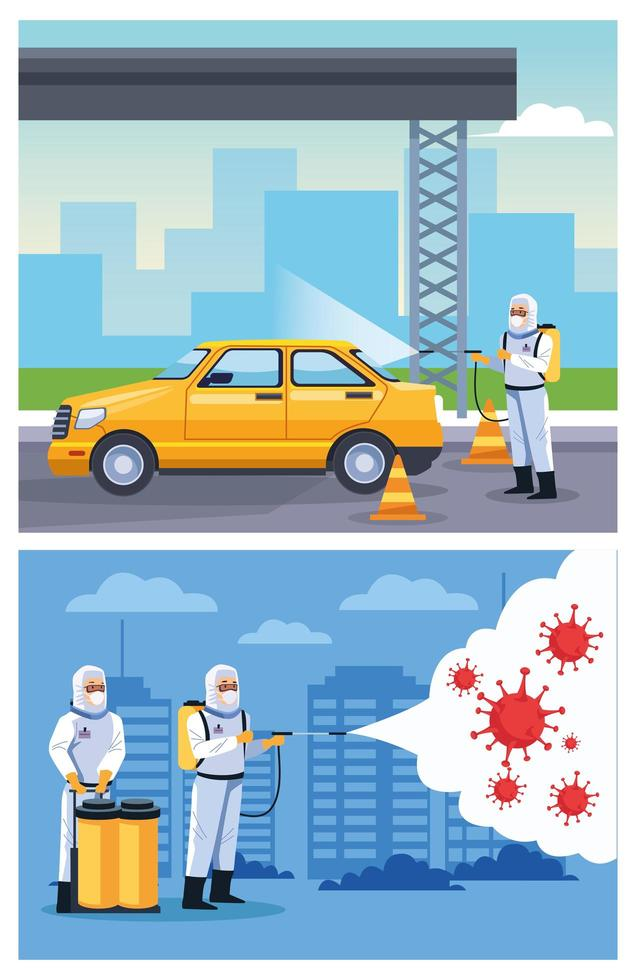 Biosafety workers dIsinfect taxi and city vector