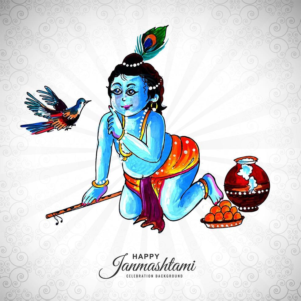 krishna religioso apuntando al fondo de la tarjeta janmashtami pájaro vector