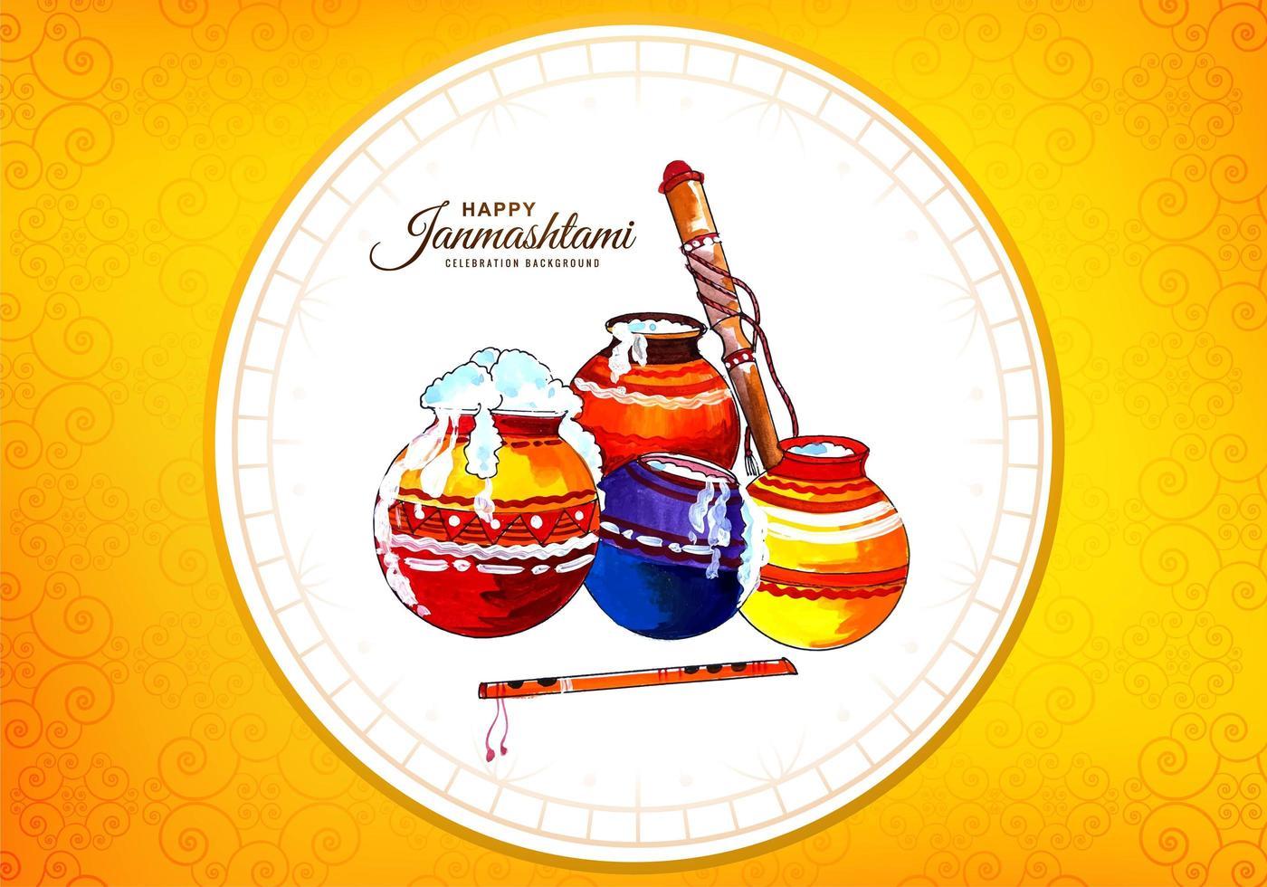 macetas de krishna feliz en marco de círculo tarjeta de festival de janmashtami vector
