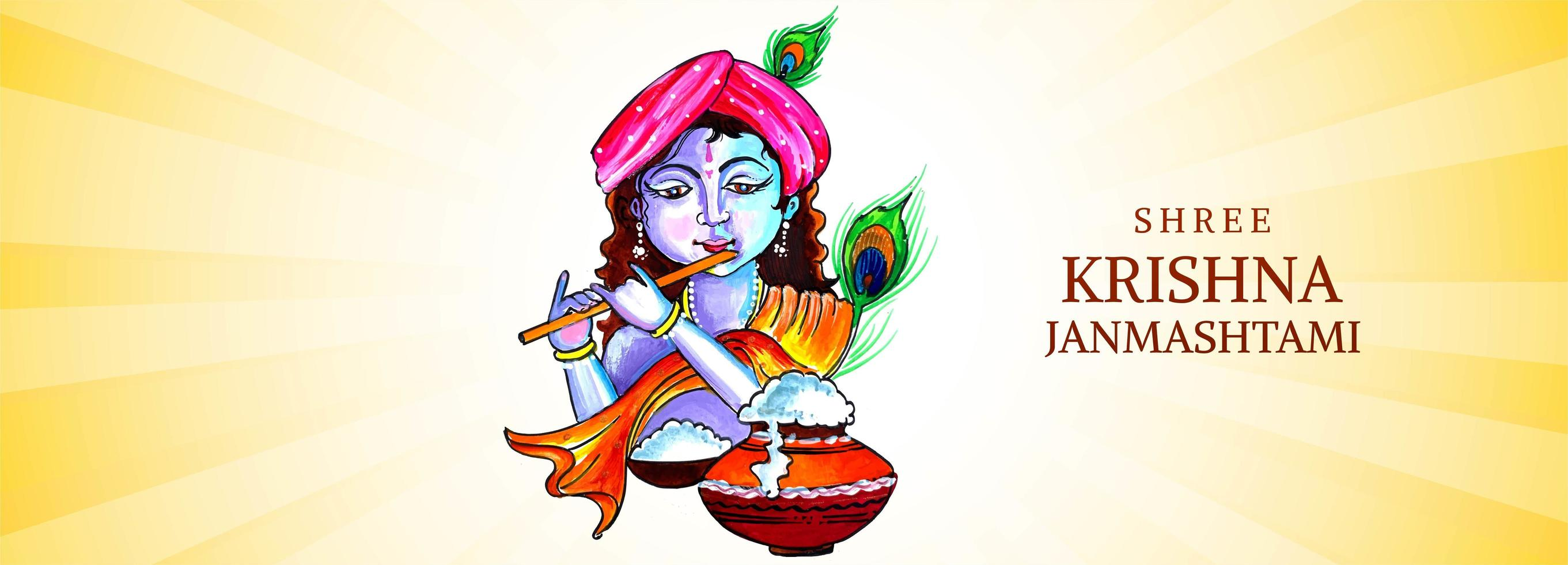 señor krishna tocando la flauta con fajín naranja janmashtami diseño de banner vector