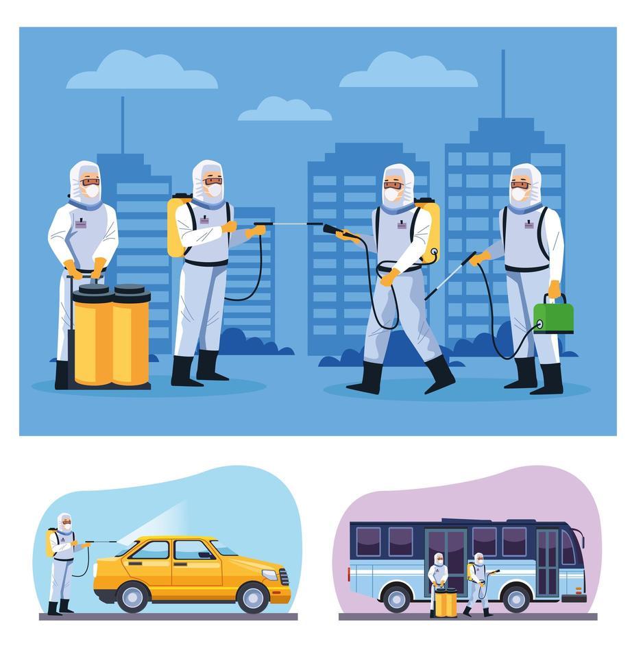 Los trabajadores de bioseguridad desinfectan autobuses y taxis. vector