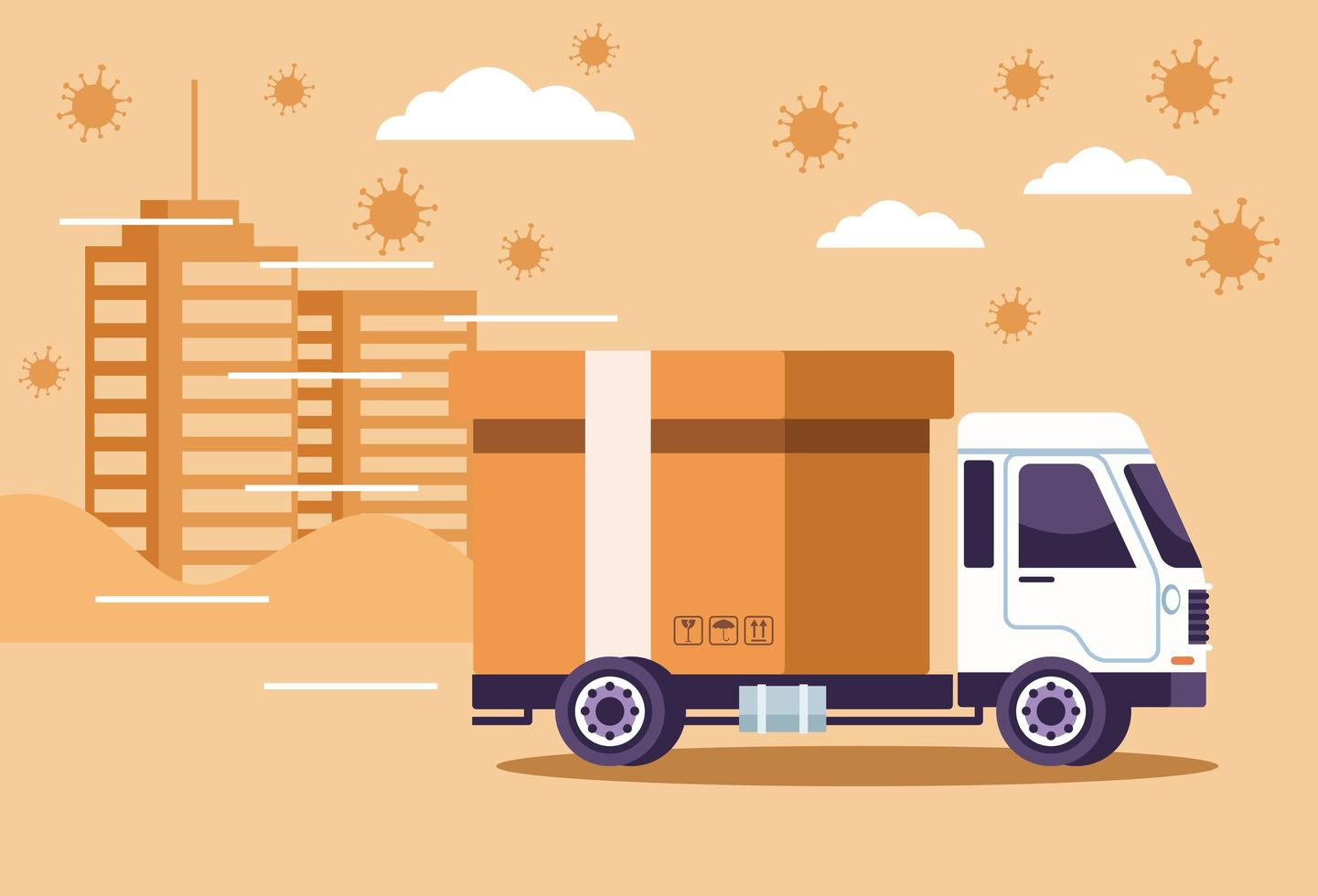 Truck delivery service with particles of coronavirus vector