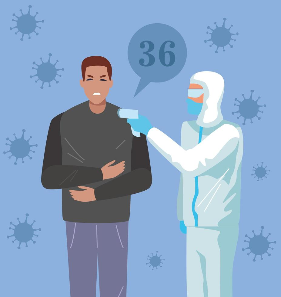 Man in temperature checkpoint  vector