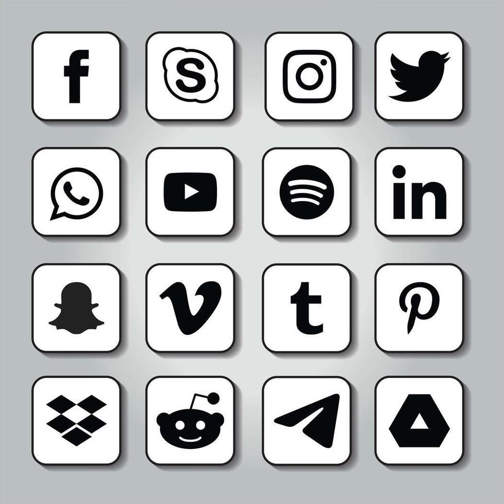 Rounded square shadowed social media emblems vector