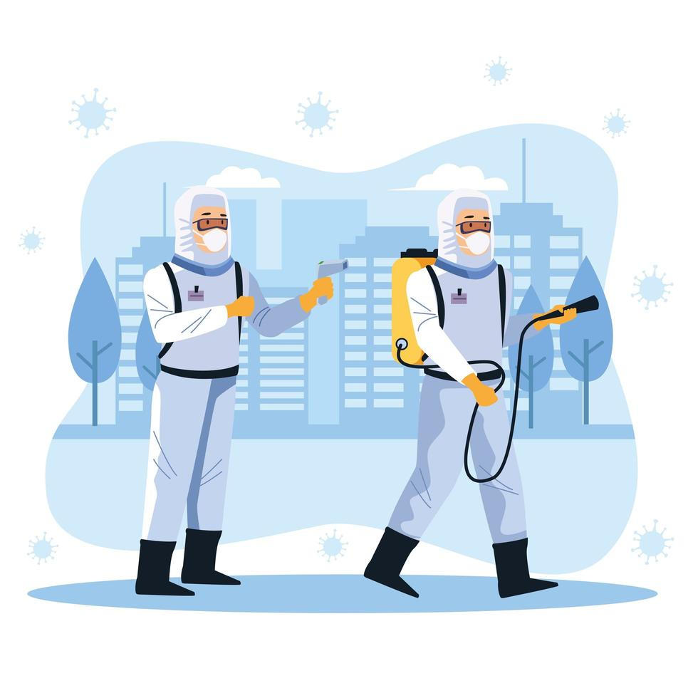 trabajadores de bioseguridad desinfectan la calle vector