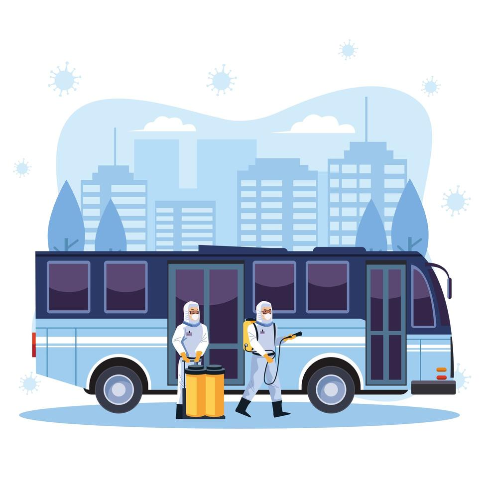 Biosafety workers disinfect bus  vector
