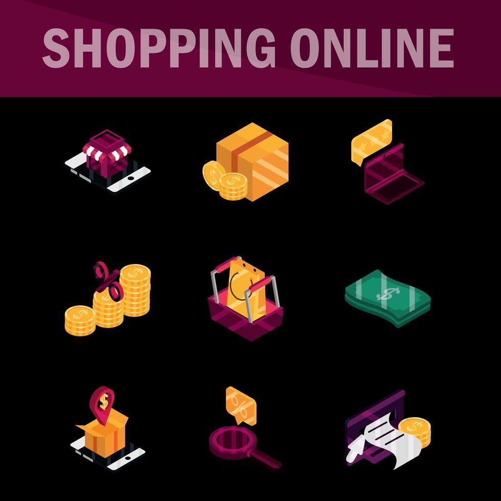 conjunto de iconos de compras en línea y comercio electrónico vector