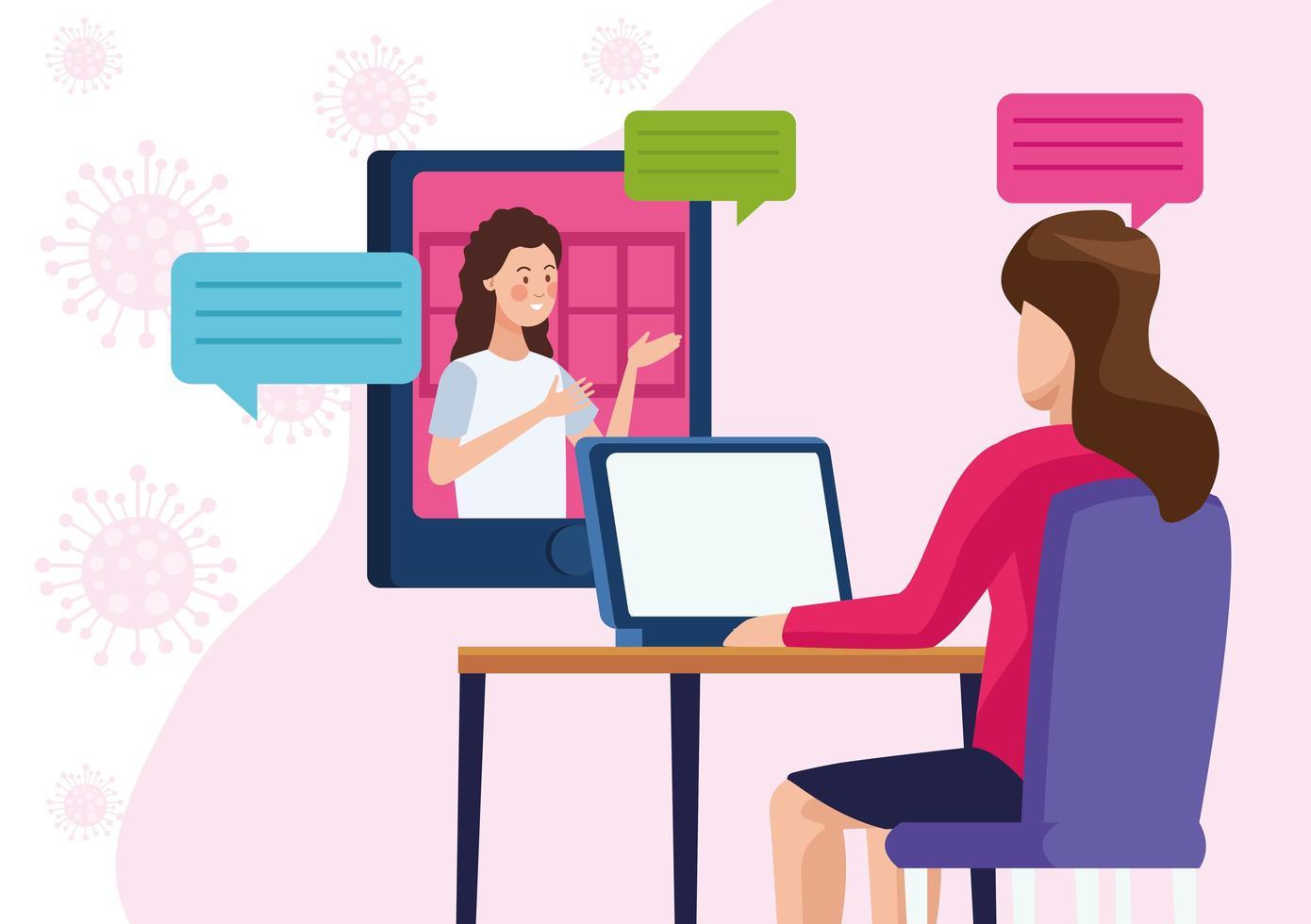 mulheres de negócios em reunião online vetor