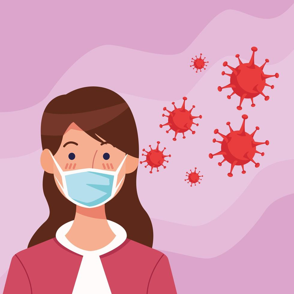 Woman using face mask with COVID19 particles vector
