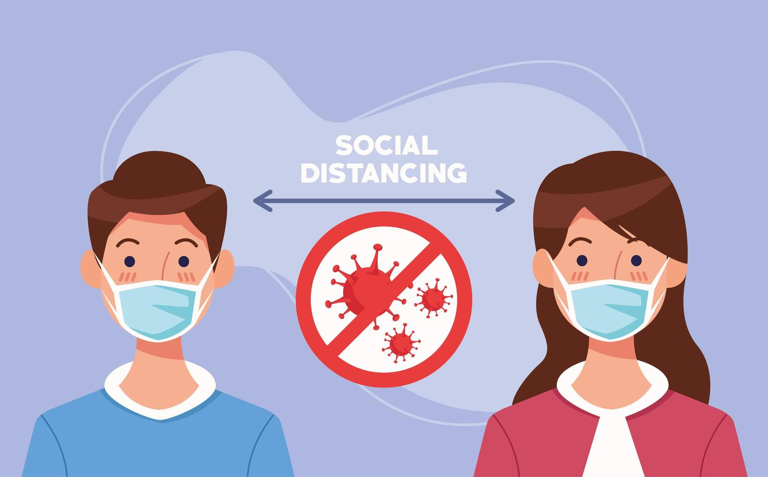 Couple using face mask with COVID19 particles vector
