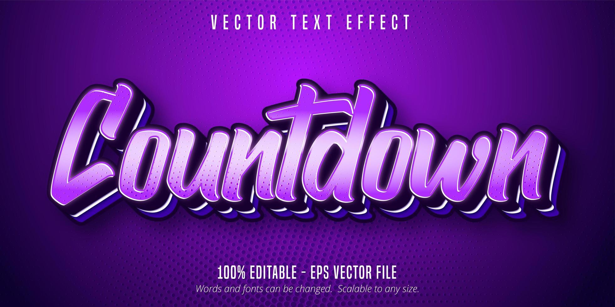 texto de cuenta regresiva, efecto de texto de arte pop de color púrpura vector