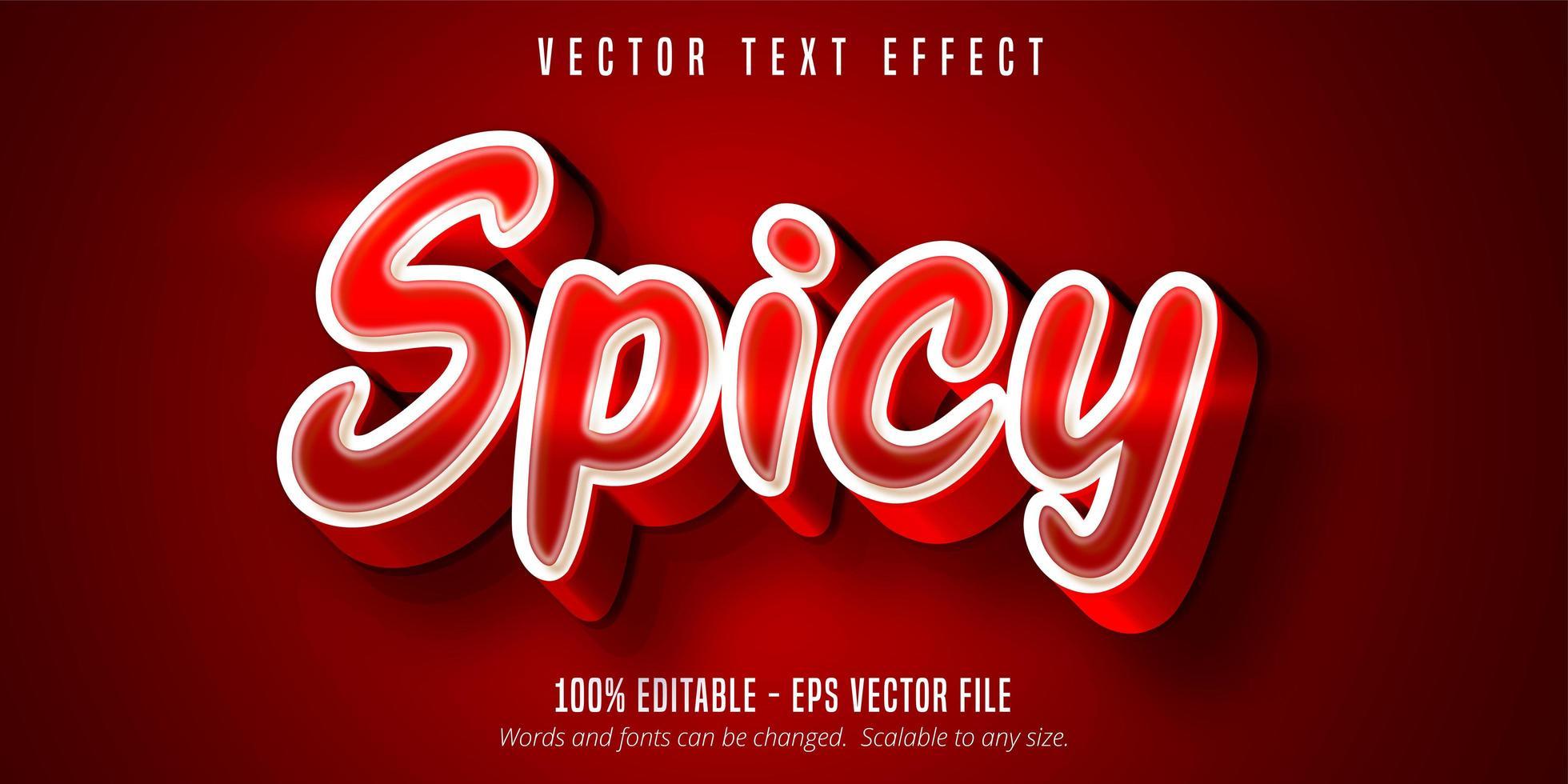 texto picante, efecto de texto de color rojo vector