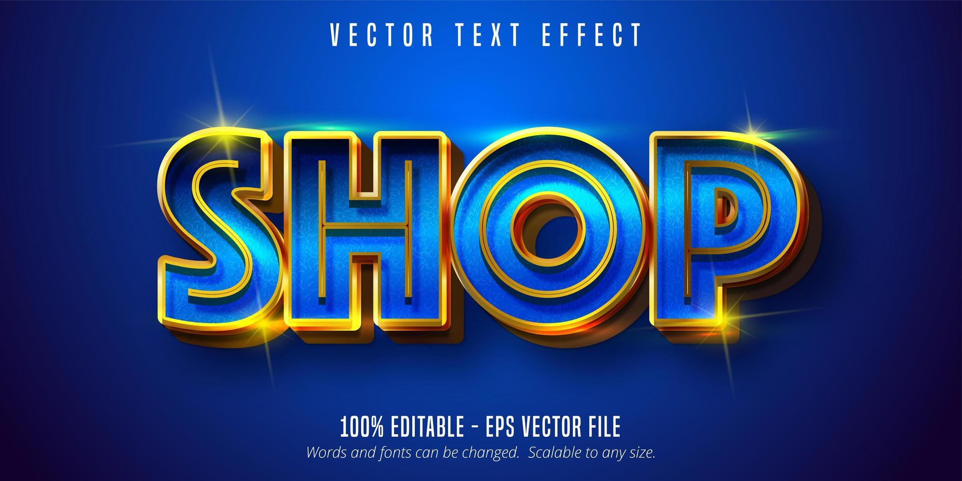 texto de la tienda, efecto de texto azul brillante y dorado. vector