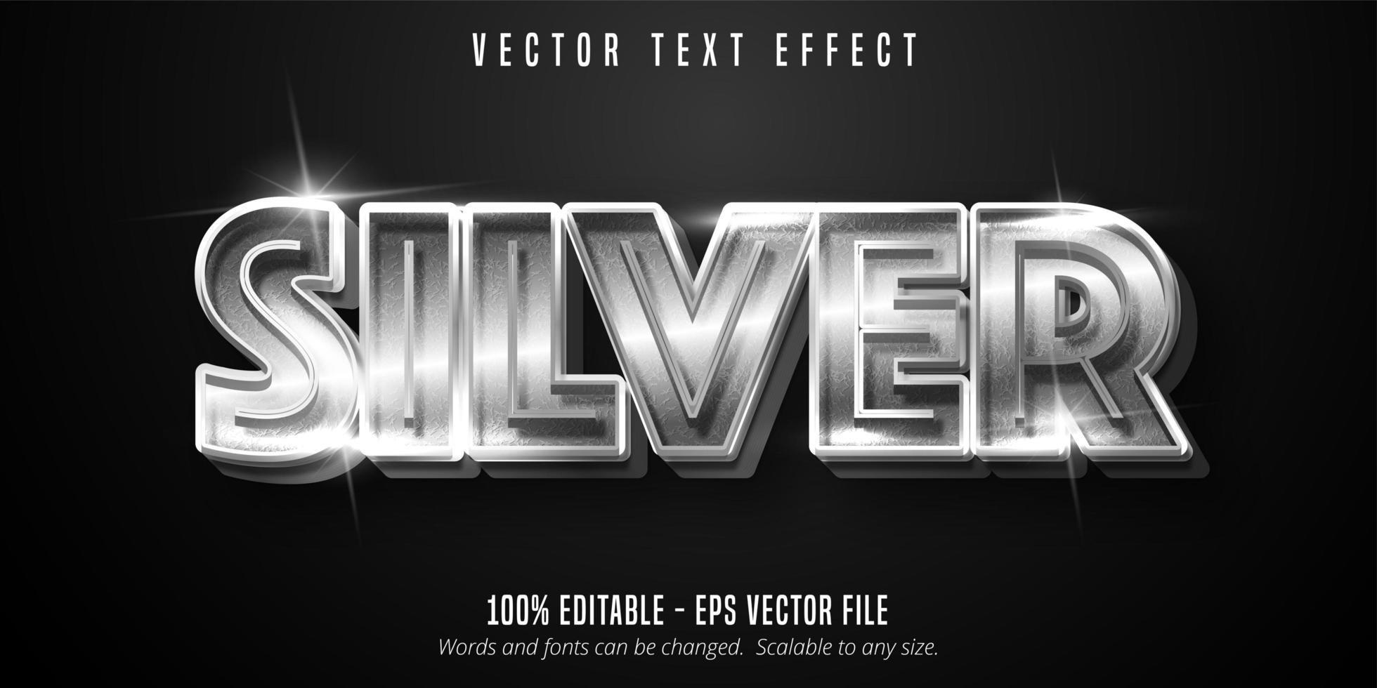 texto plateado, efecto de texto de estilo metálico brillante vector