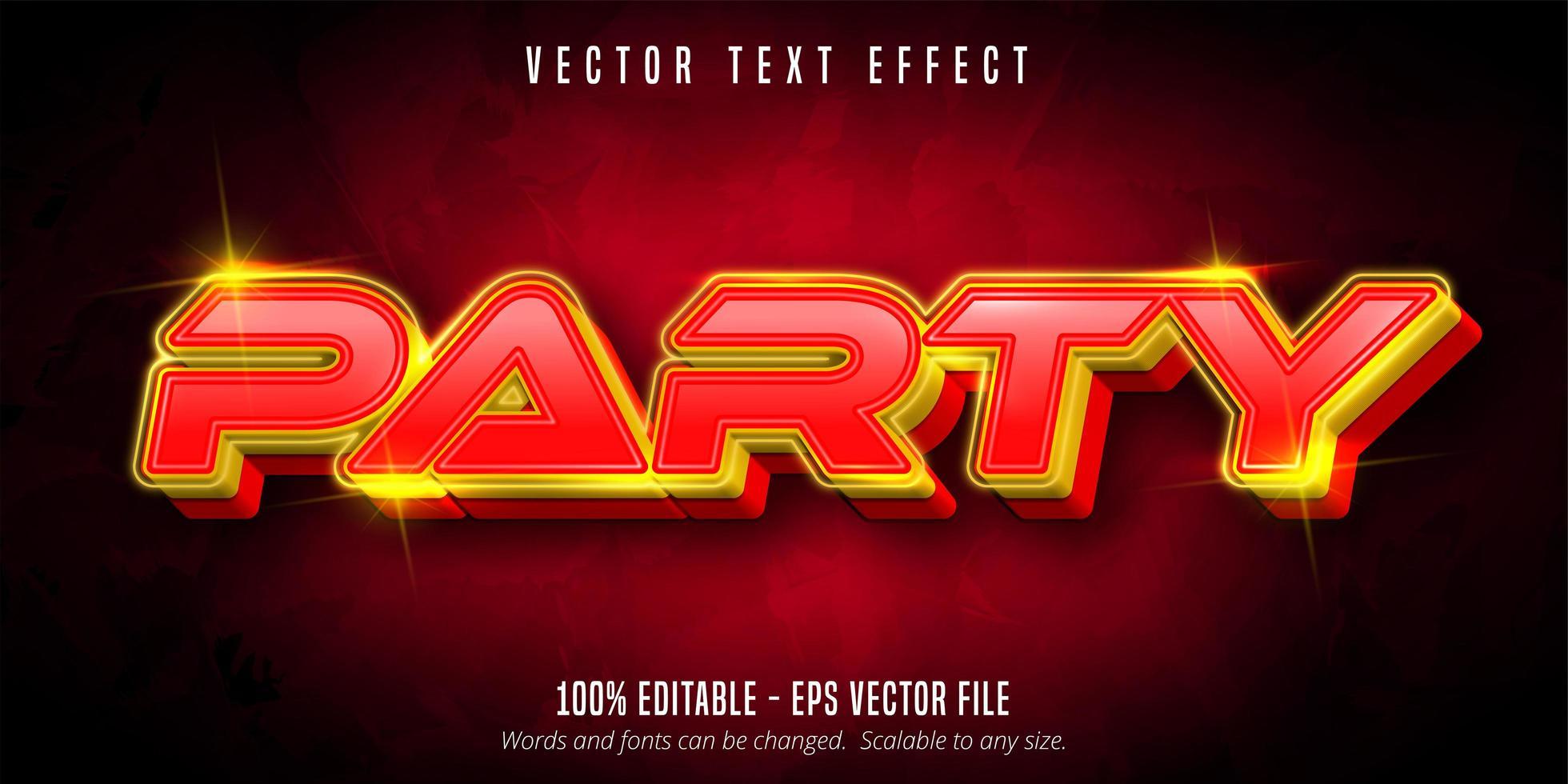 texto de fiesta, efecto de texto estilo neón vector