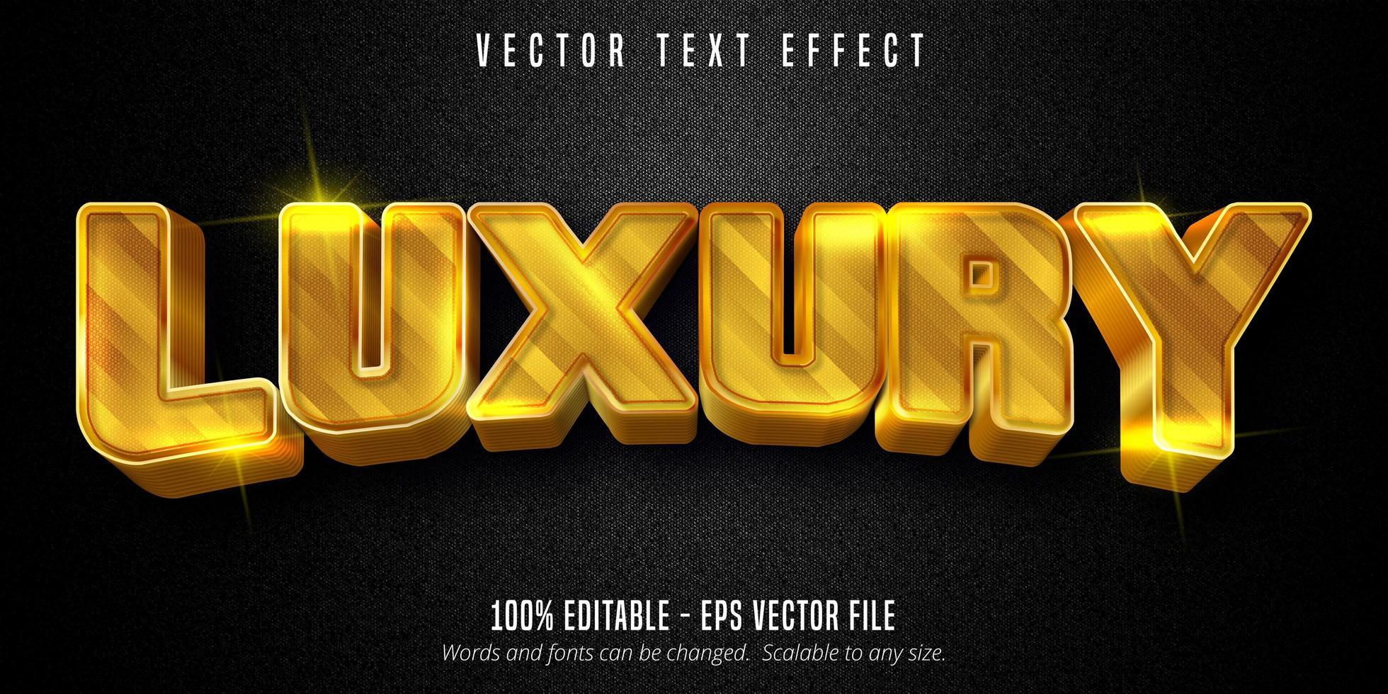 texto de lujo, efecto de texto de estilo dorado brillante vector