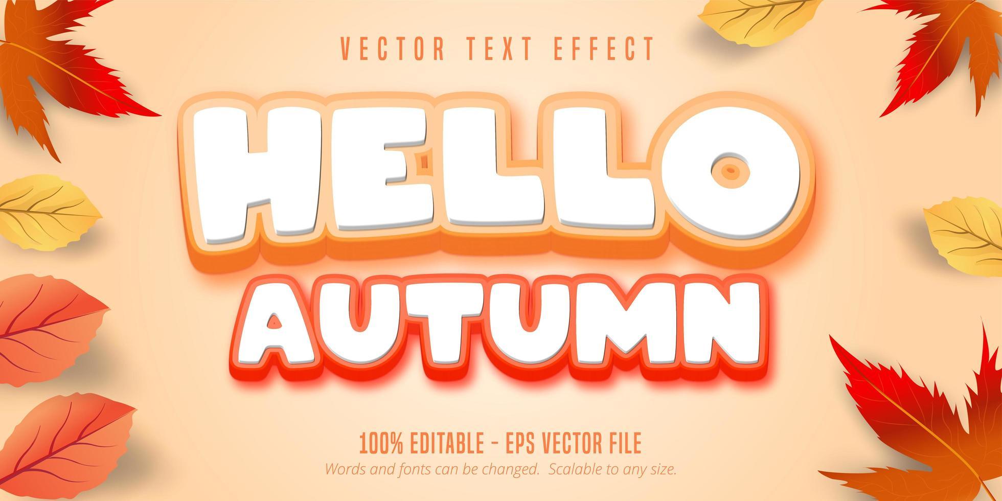 hola texto de otoño, efecto de texto de estilo otoño vector