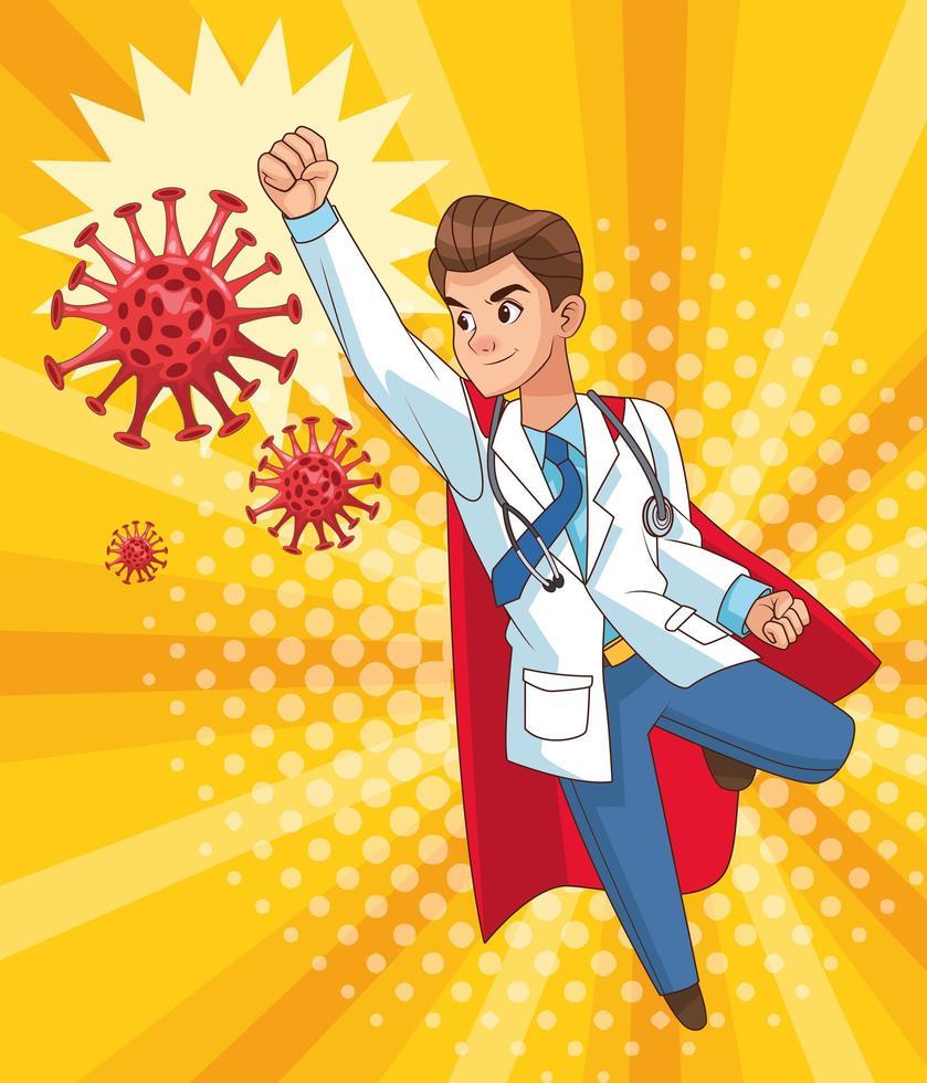 super doctor volando vs covid19 vector