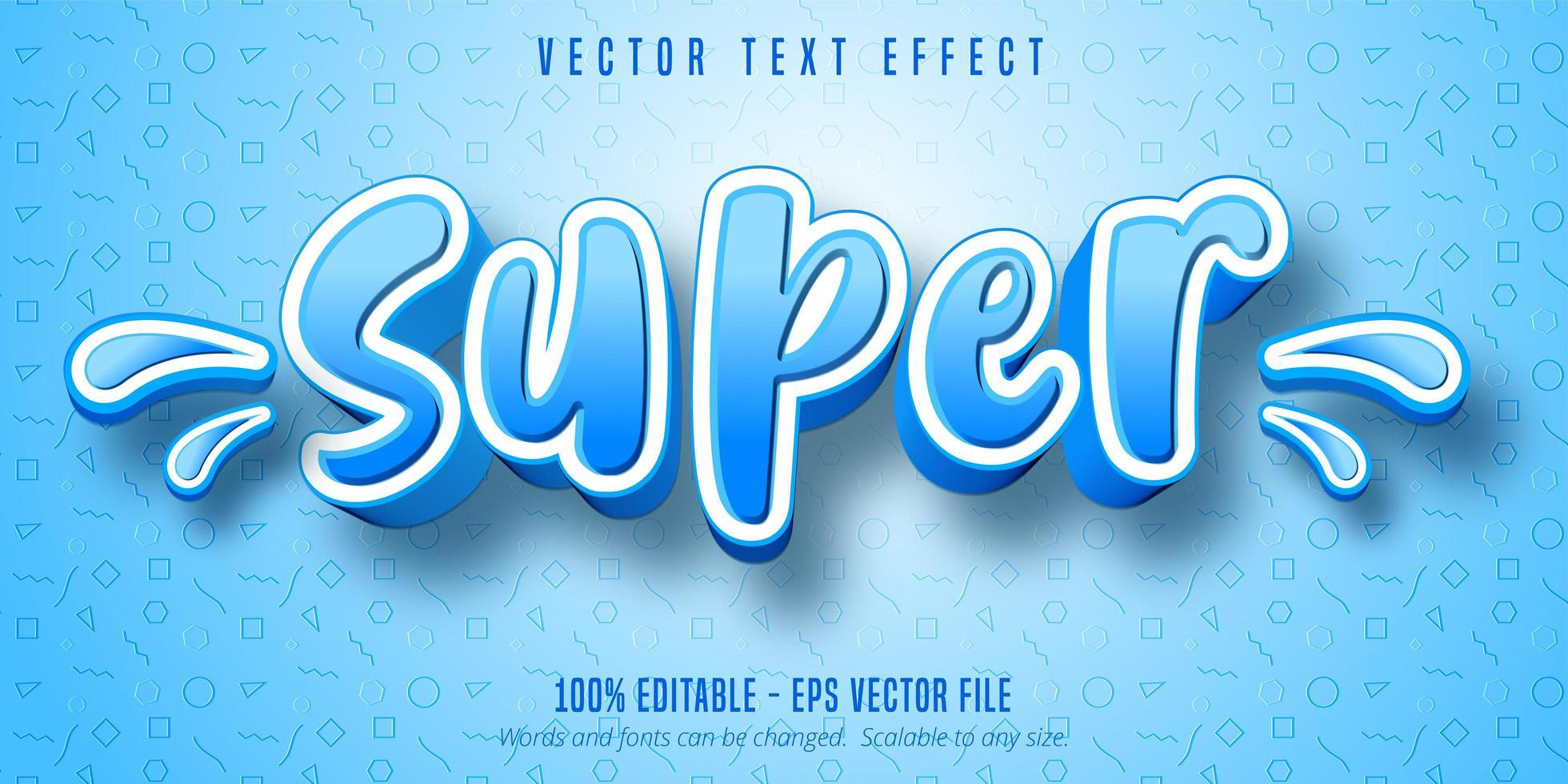 super texto, efecto de texto de estilo de dibujos animados vector