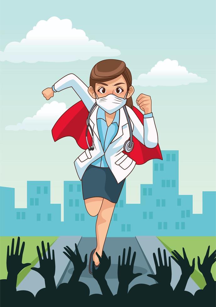 Super female doctor running  vector