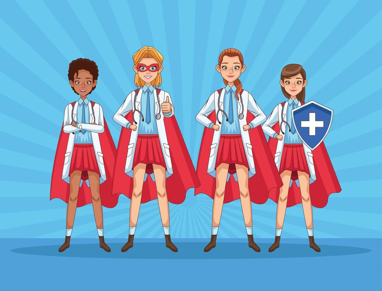 Super female doctors staff vs COVID19 vector