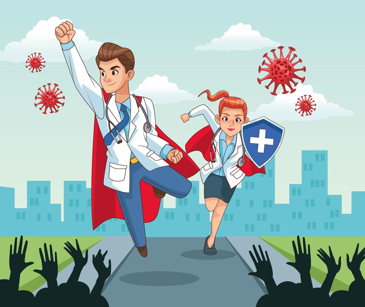 super doctores vs covid19 vector