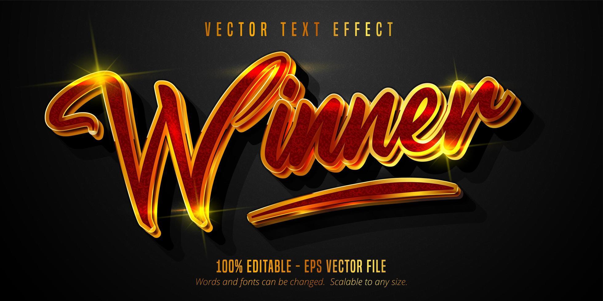 texto ganador, oro brillante, efecto de texto de estilo rojo vector