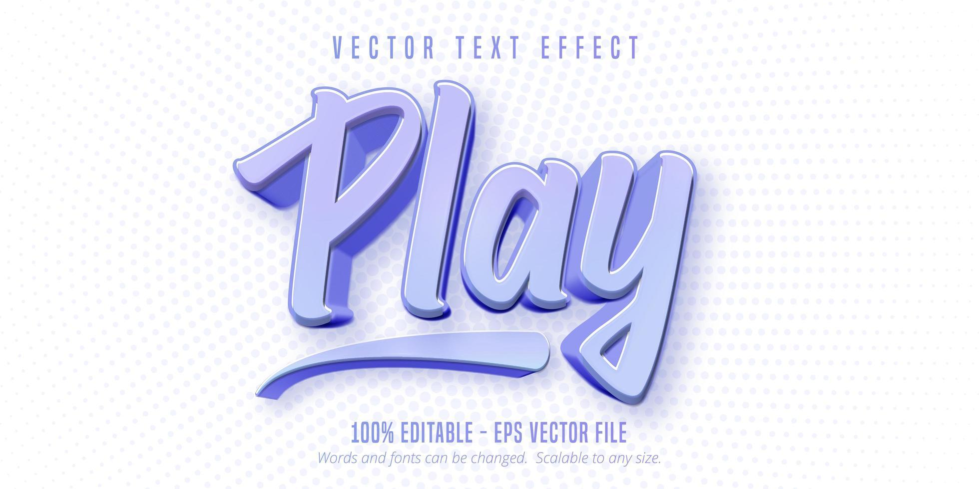 reproducir texto, efecto de texto de estilo de juego vector