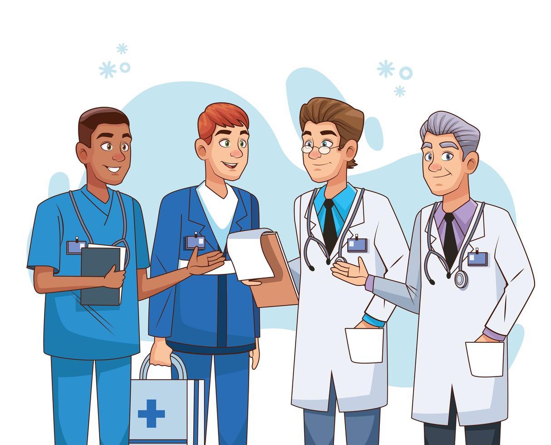personagens profissionais da equipe de médicos vetor
