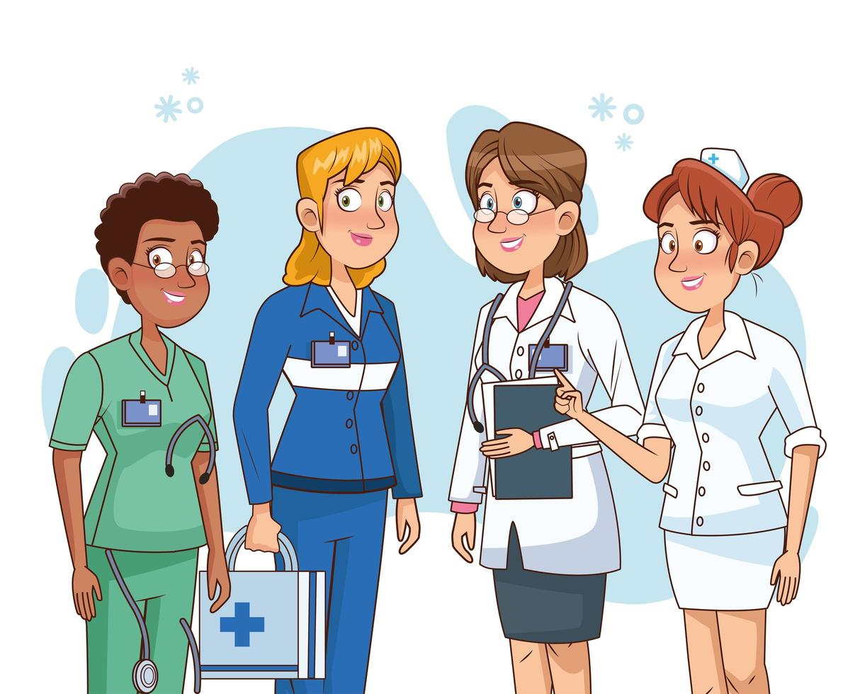 Professional female doctors staff characters vector