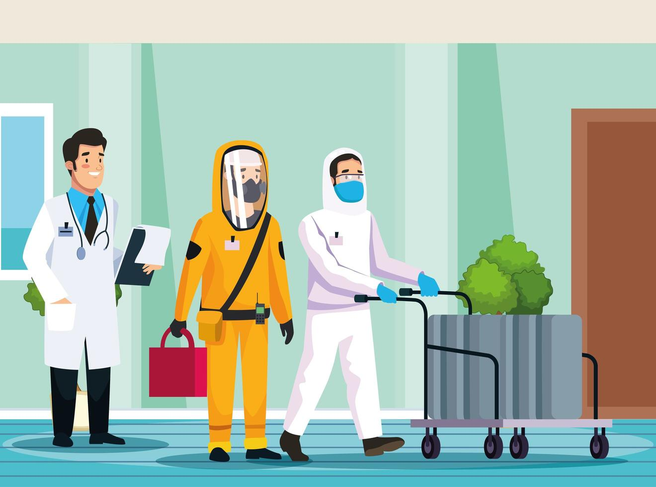 Biohazard cleaning persons with doctor  vector