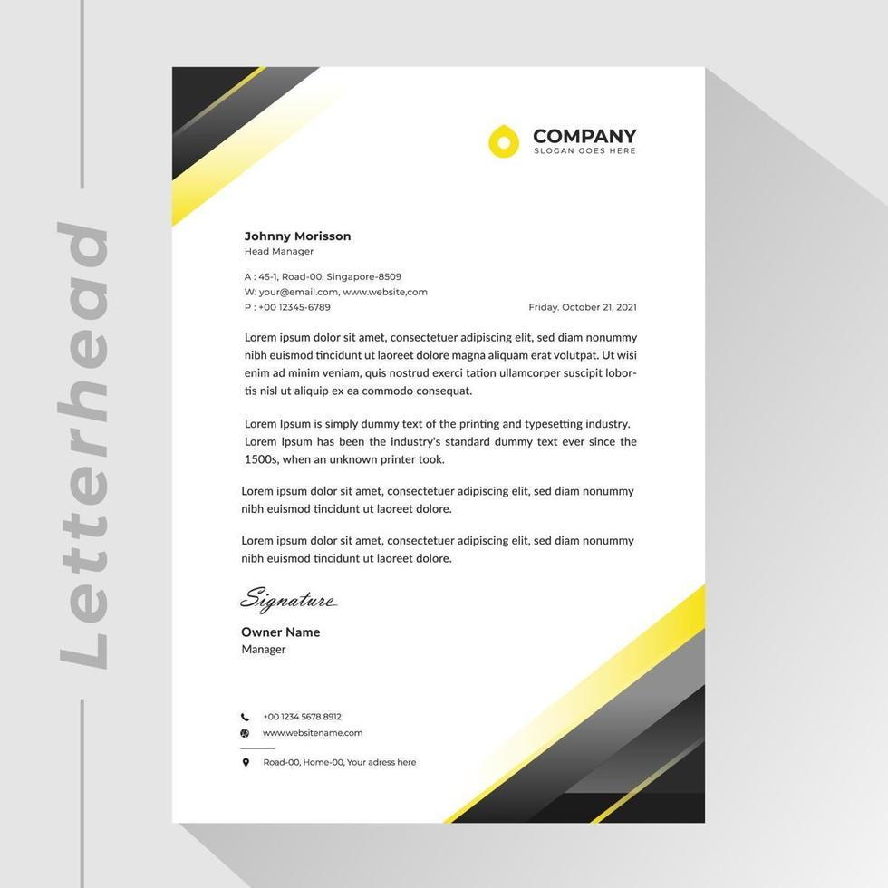 membrete comercial con esquinas triangulares de degradado negro y amarillo vector