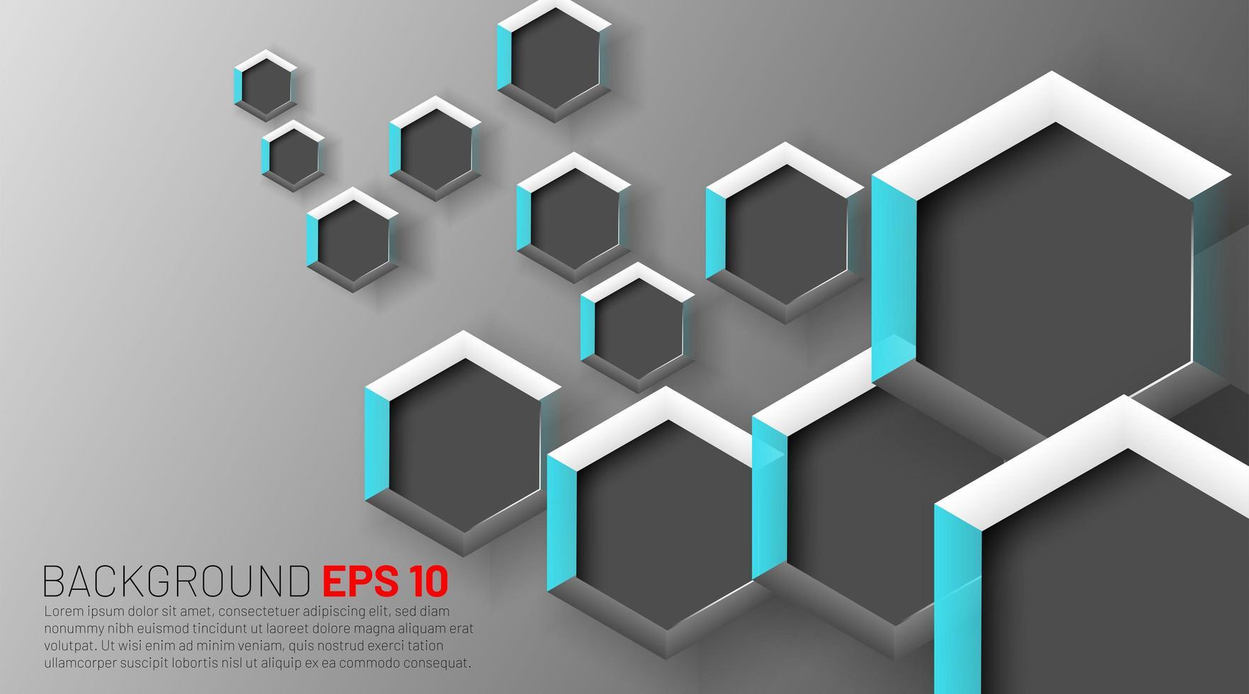 hexágonos 3d superpuestos en degradado gris vector