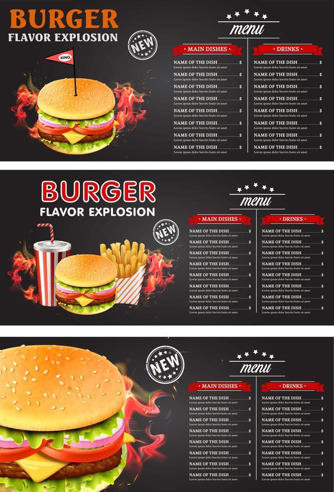 menú de comida rápida dibujo de tiza vintage vector