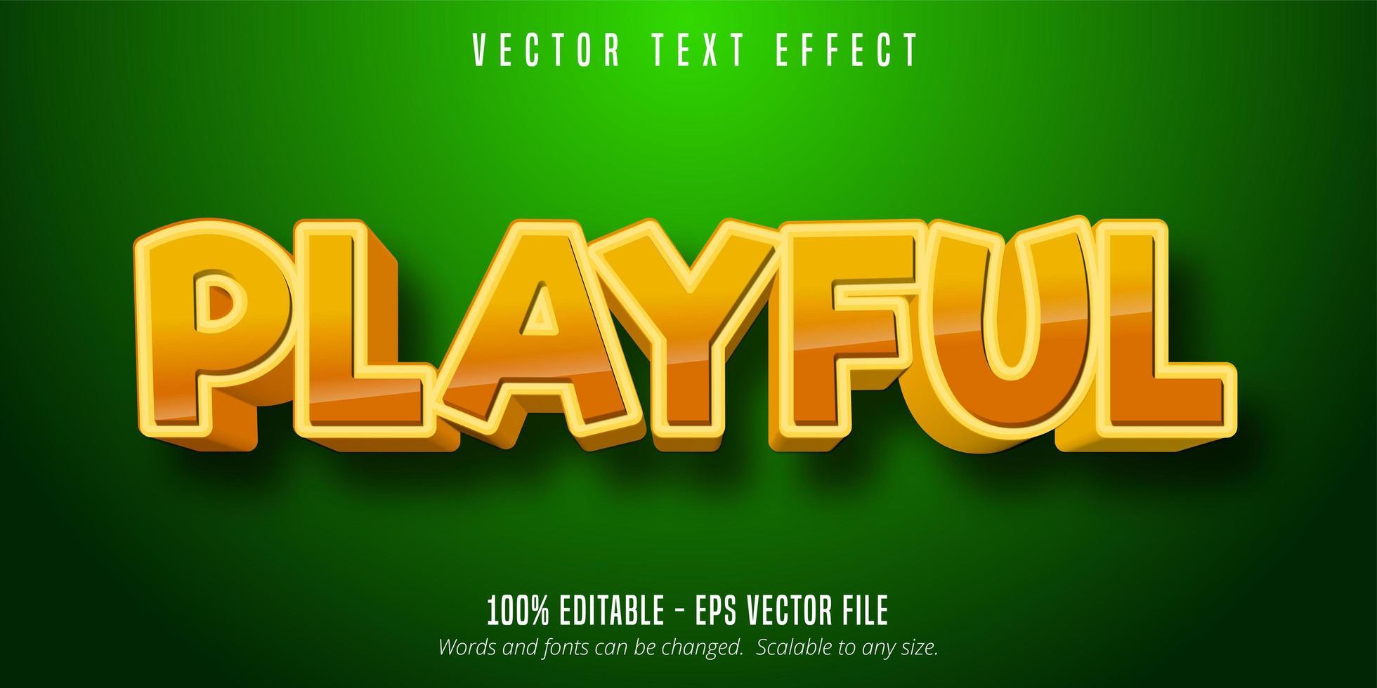 efecto de texto editable de estilo cómico juguetón dorado brillante vector