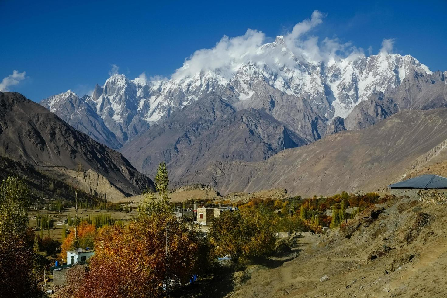 Snow capped Karakoram mountain range in Pakistan photo