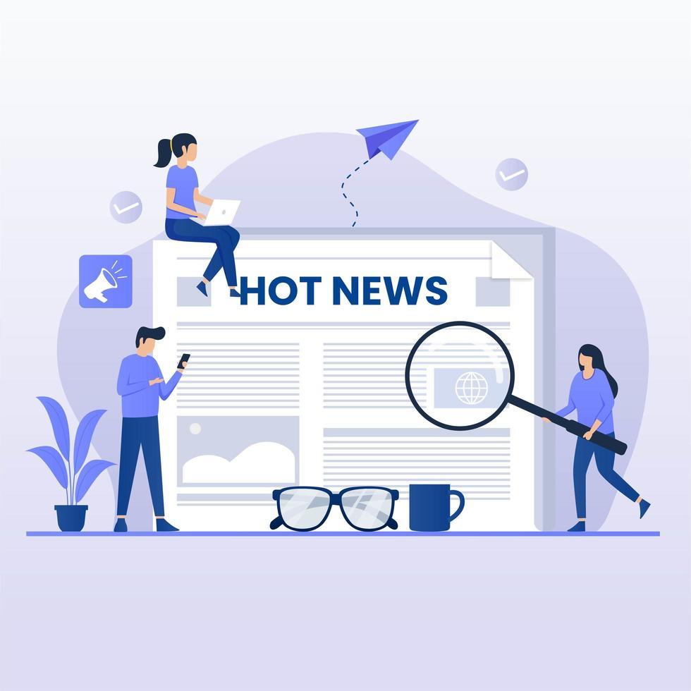 leyendo el concepto de diseño plano de noticias calientes vector